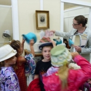 K-3\'s trying on Historic Hats